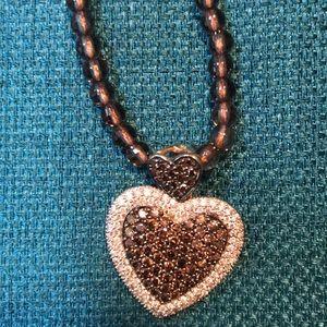 Chocolate and White Diamond Heart/Smoky Qtz Chain